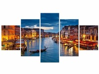5 Pieces Night Venice Sail Boat Picture For Living Room Decor Painting HD Print Oil Painting