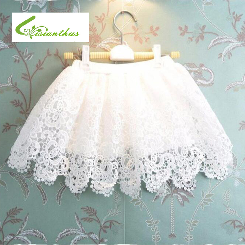2018 New Summer Style Lovely Children Skirt Girls A-Line Skirt White Lace Pettiskirt Girls Skirts for 2-12 Years Old Kids Skirt