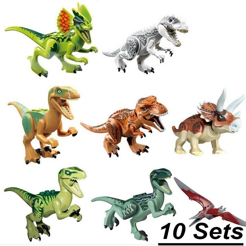 10 مجموعات/وحدة الديناصورات العالم بارك القديمة ترايسيراتوبس ستار الحرب يتصاعد الديناصور قوالب بناء كتل لعب 79151 77001 77037-في حواجز من الألعاب والهوايات على  مجموعة 2