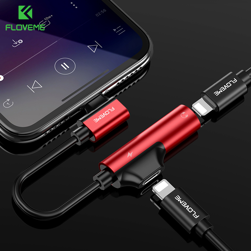 FLOVEME 2 In 1 Charging Audio Adapter For IPhone X 7 8 Plus Earphone Charger Cable Splitter Adapters For IOS Converter
