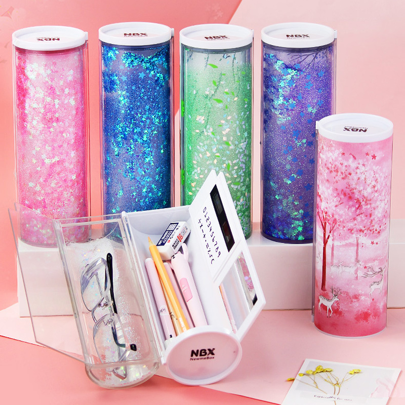 Quicksand Translucent Creative Multifunction Cylindrical Pencil Box Case 2019 school Stationery Pen Holder Pink Blue calculator-in Pencil Cases from Office & School Supplies