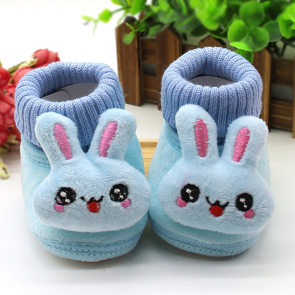 2018 Baby Shoes Rabbit Applique Solid Color Baby Girl Handmade Cotton Warm Slip On First Walker Chaussure Enfant