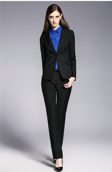 Formal Office Uniform Black Custom Designs Women Pant Suits Elegant Pantsuits Lady OL Business Suits
