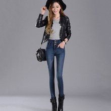 цена на Korean version of commuting temperament high waist double-breasted stretch feet pants ladies jeans free shipping