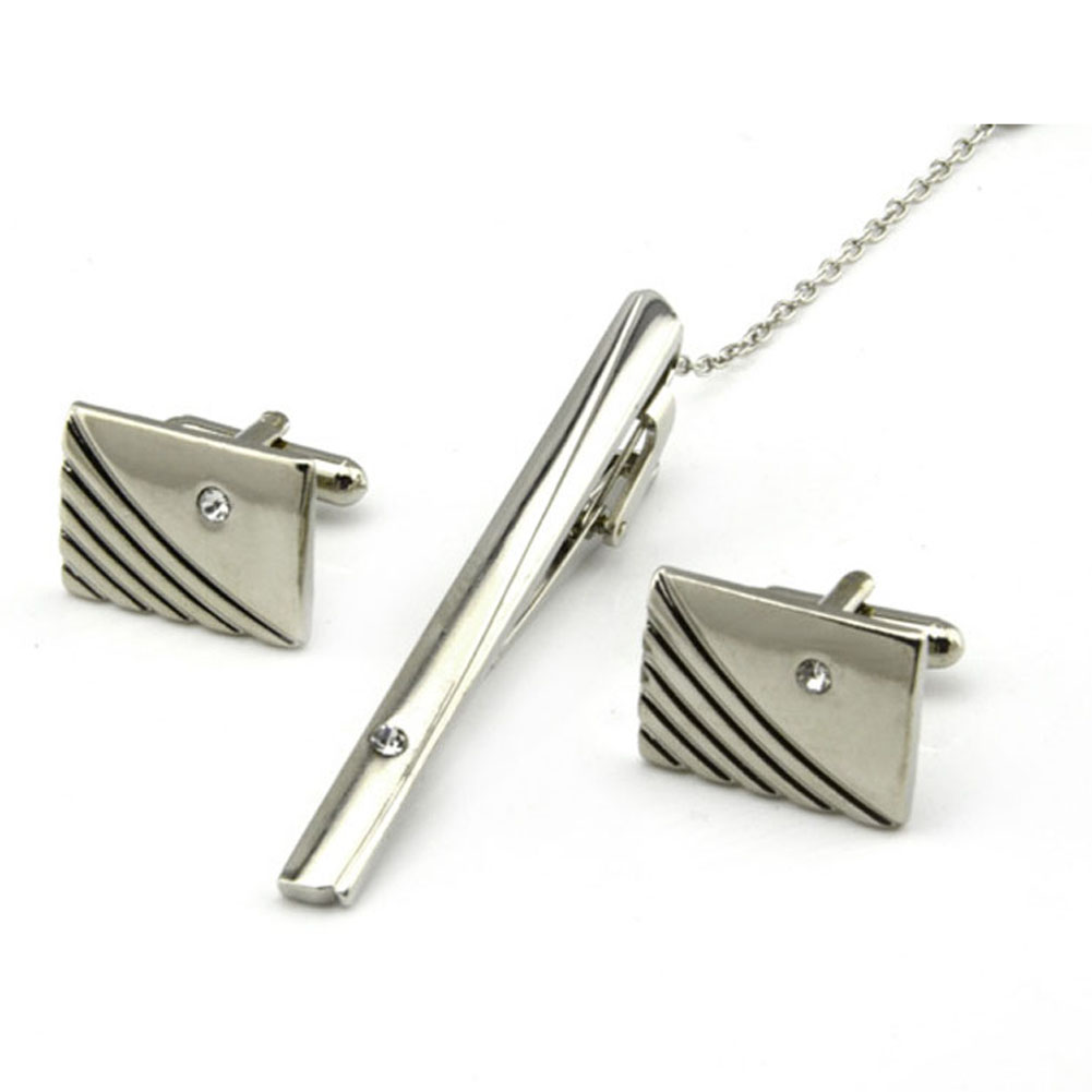 Men Silver Necktie Pins Tie Clips Twill Cufflinks Tie Clip ...