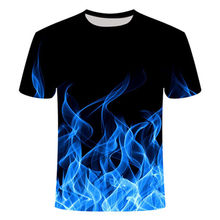 Blue Flaming tshirt Men/Women t shirt 3d t-shirt Casual Tops Anime Streawear Short Sleeve Tshirt Asian Plus-Size men's clothing