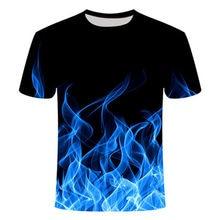 Blue Flaming tshirt Men/Women t shirt 3d t-shirt Casual Tops Anime Streawear Short Sleeve Tshirt Asian Plus-Size men's clothing