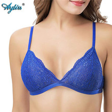 Ayliss Hot Sale Good quality 1pc Royal blue Adult Triangle Bra Sexy Lace Wire free Non Padded Bralette