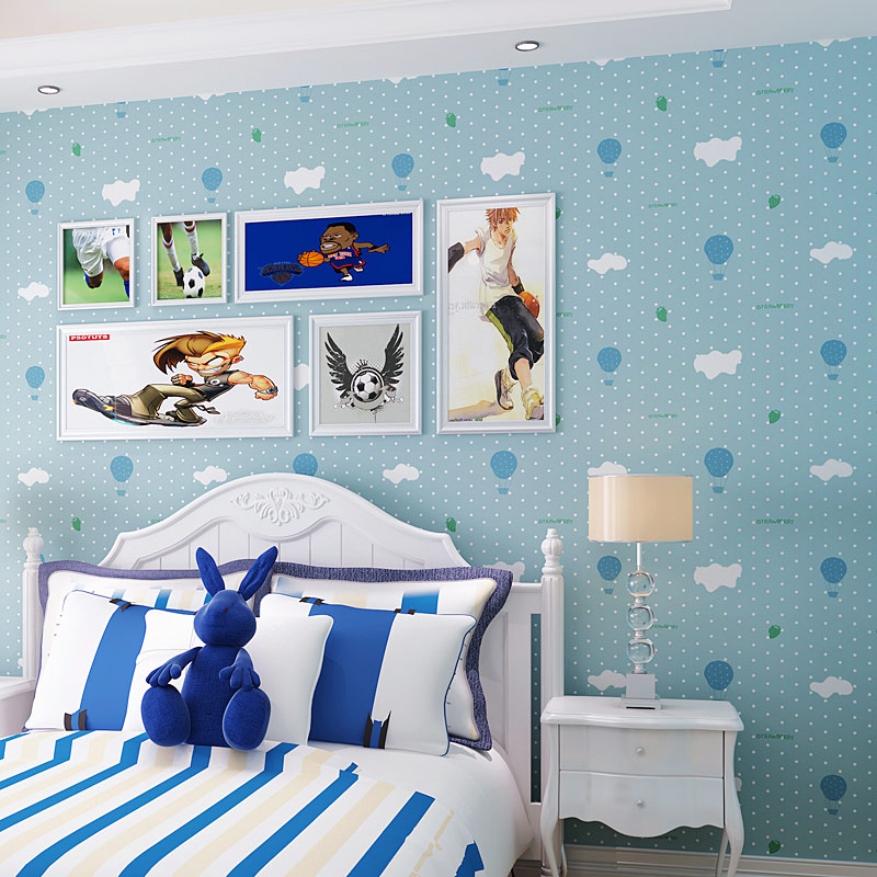 Pink White Clouds Balloons Dots Cartoon Boys Girls Children's Bedroom Wallpaper Rolls 3D Non-woven Wall Papers Home Decor Modern 3d modern wallpapers home decor solid color wallpaper 3d non woven wall paper rolls decorative bedroom wallpaper green blue