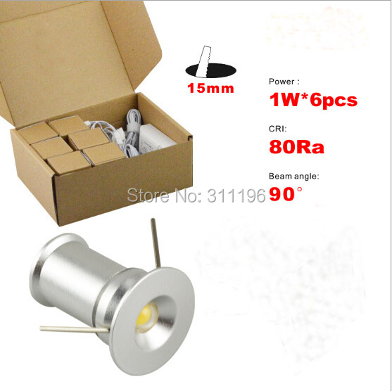 6pcs 1w Recessed Waterproof Dimmable Micro Small Mini Led