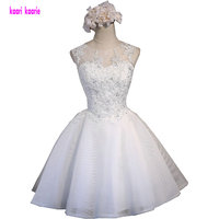 Fast Shipping Glamorous Factory Made Ball Gown Scoop Tulle Appliques A Line Short Ivory Prom Dress