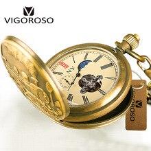 Антикварные Механические карманные часы, роскошные часы с фазой Луны(12/24 часов), часы из чистой меди с ручным заводом для мужчин и женщин