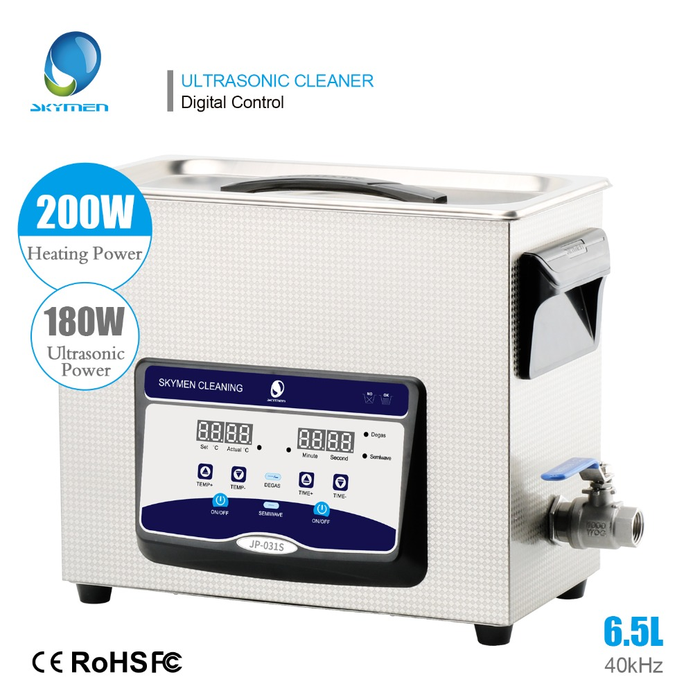 SKYMEN 6.5L 180W Ultrasonic Cleaner With Heater Timer Ultrasound Bath For Cleaning PCB Metal Parts