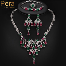 Pera Noble Design Big Flower Drop 4 Piece Nigerian Women Party Accessories Jewelry Set With Green And Red Cubic Zirconia J151