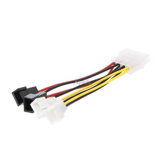 IDE/SATA Molex 4-Pin к 4X 3-контактный TX3 корпусное Охлаждение вентилятором Мощность адаптер конвертер кабель Z07 Прямая поставка