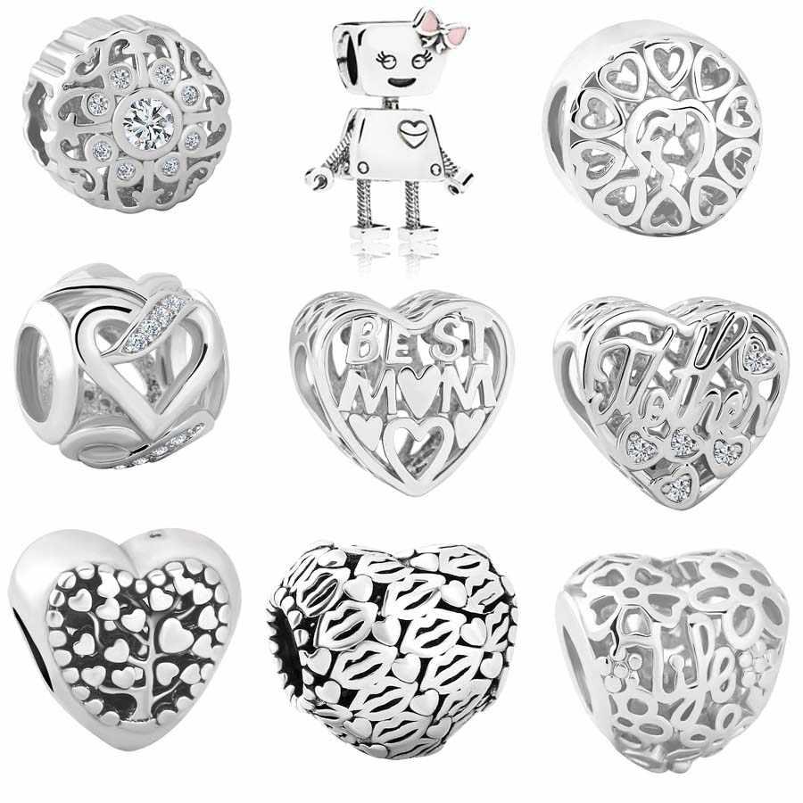 Yeni Orijinal bakır boncuk bella bot kalp en iyi anne aile hayat ağacı Charm Fit Pandora charms Bilezik Kolye DIY Kadınlar takı