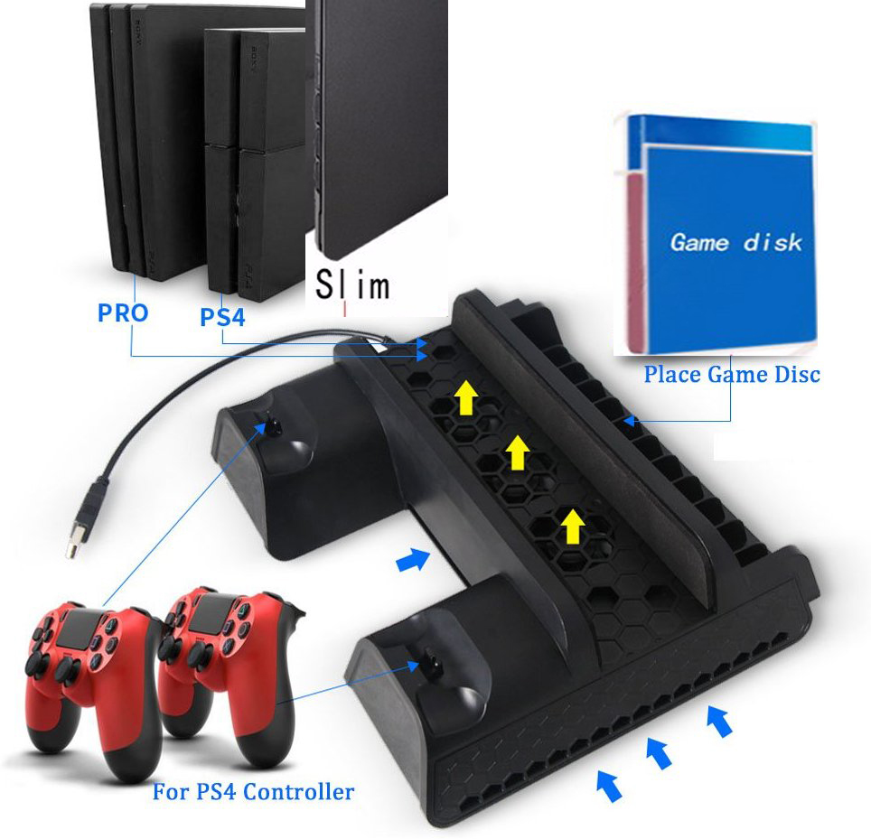 1 Pcs Vertical multi-functional USB DC 5V cooling pad cooling dock Stand for Sony Playstation 4 For PS4 Slim and For PS4 Pro