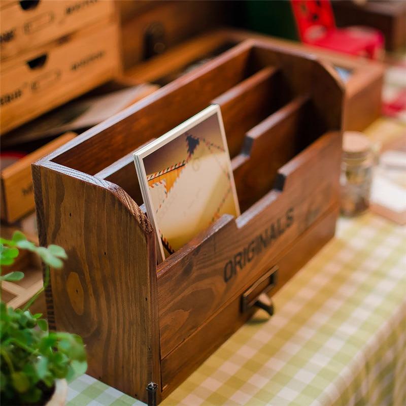 Caisse en bois de bureau boîtes de rangement décoratives boîte en bois Vase à crayons bijoux coffres au trésor support de stockage fournitures
