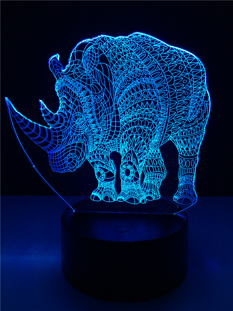 3D Animal Rhinoceros Night Light LED Illusion Lamp USB 7 Colors Change Colorful Gradient Visual Lighting Decor Kids Gifts Child 3d led visual colorful usb table lamp