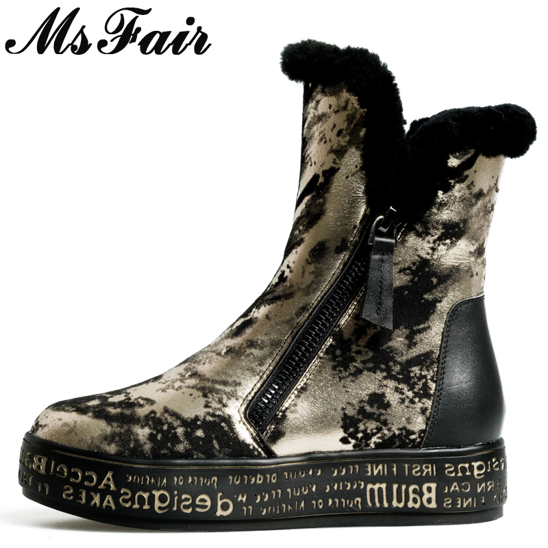 MsFair Genuine Leather Round Toe Women's Snow Boots Winter Print Wool Ladies Boot Shoes Low Heel Platform Flat with Snow Boots nayiduyun women genuine leather wedge high heel pumps platform creepers round toe slip on casual shoes boots wedge sneakers