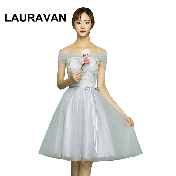 Gray Short Knee Length Bridesmaid Convertible Wrap Boat Neck Dress Girls Bridesmaids Dresses Party Ball Gown For Teens Weddings