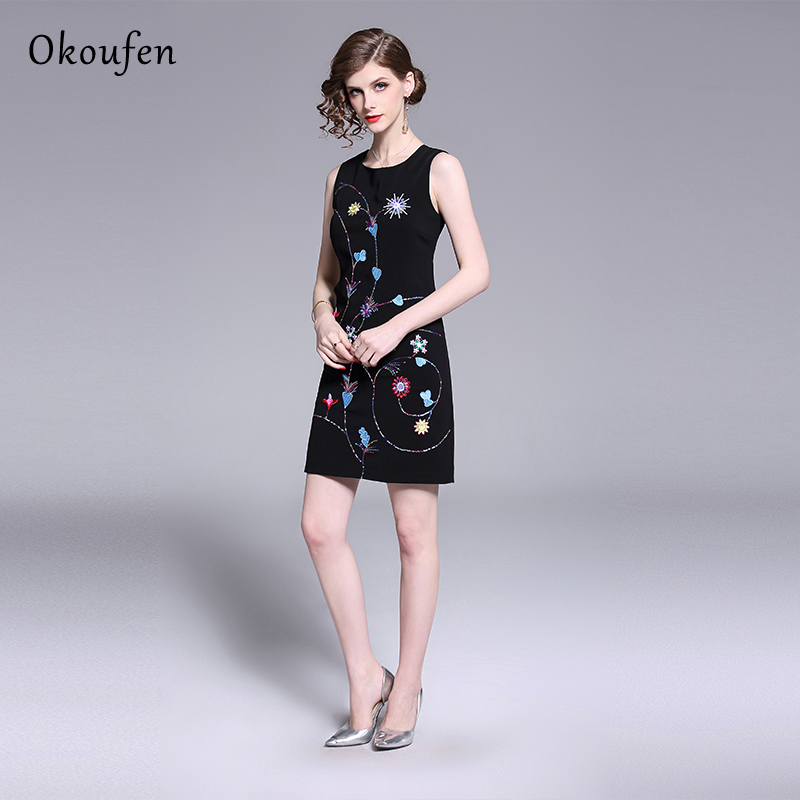 Summer 2019 New Dresses Female Embroidery Sequins Sleeveless Printed Vest Short Black Temperament Comfortable ZX0016