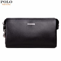 VICUNA POLO Brand Genuine Leather Mens Clutch Wallet With Coded Lock Cowhide Men Wallet Business Man
