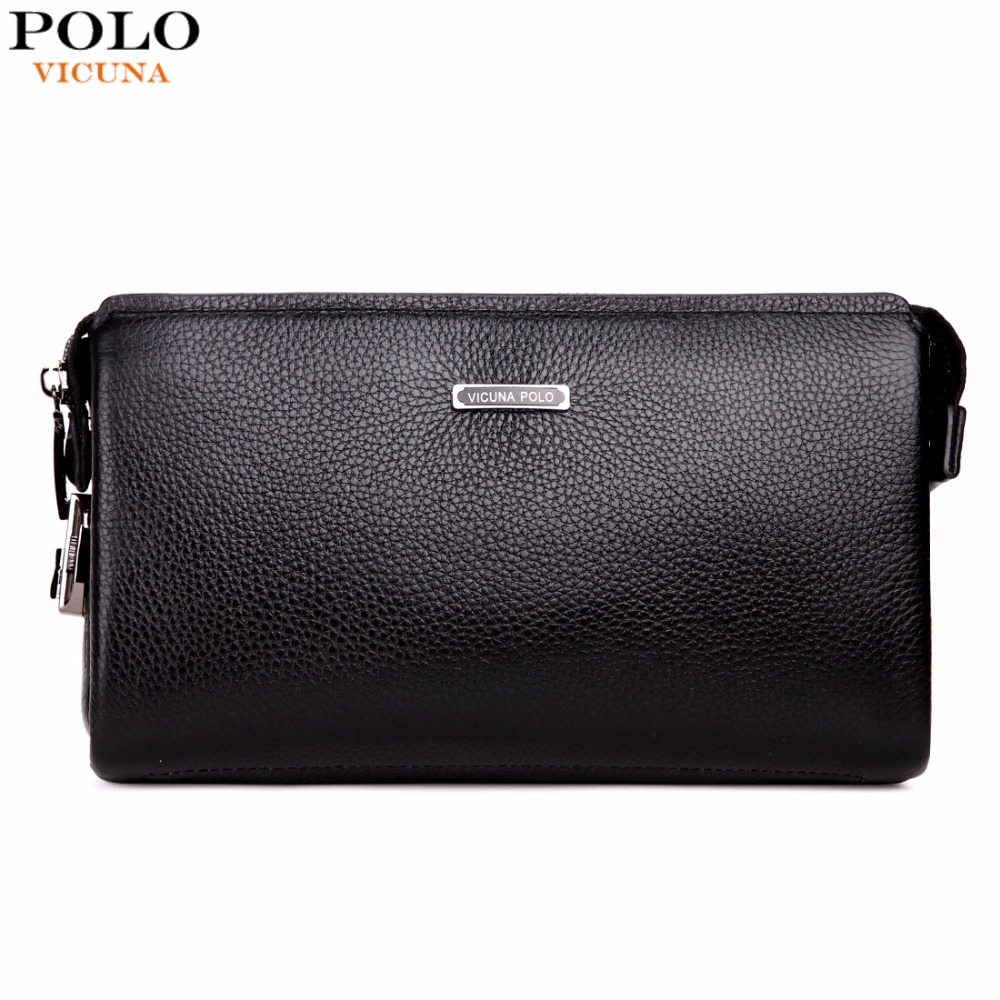 VICUNA POLO Brand Genuine Leather Mens Clutch Wallet With Coded Lock Cowhide Men Wallet Business Man Clutch Purse Mens Handbag
