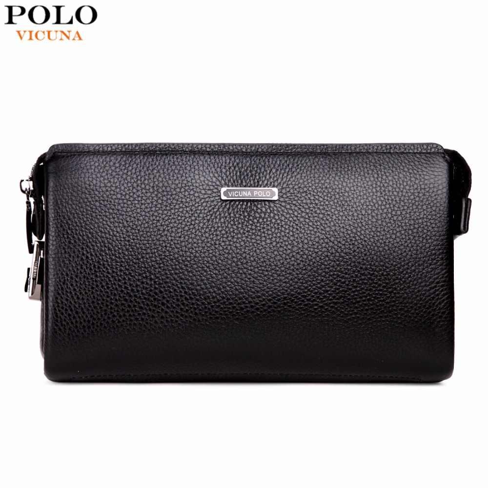 fdbc1d8adb9f VICUNA POLO, брендовый мужской кошелек-клатч с кодовым замком из  натуральной воловьей кожи,