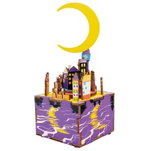 Robotime Wooden Clockwork Music Box Toy DIY 3D Puzzle Buildings Boxes Assembly Model Handmade Wood Decor Girls Toys