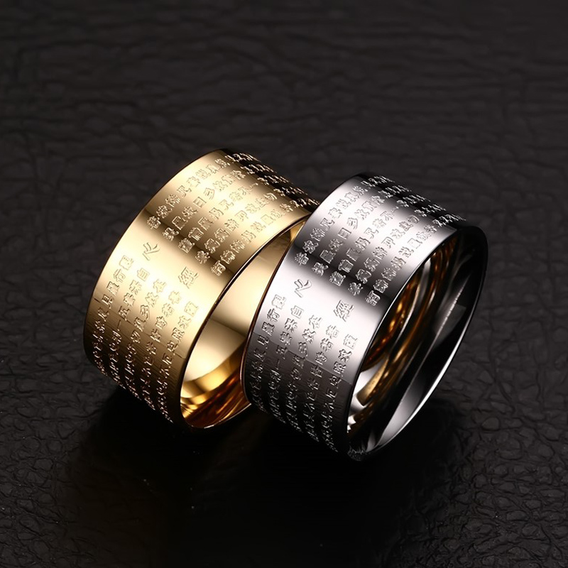 Image 5 - Meaeguet 10mm Wide Vintage Prayer Bijoux Rings for Women Men 316L
