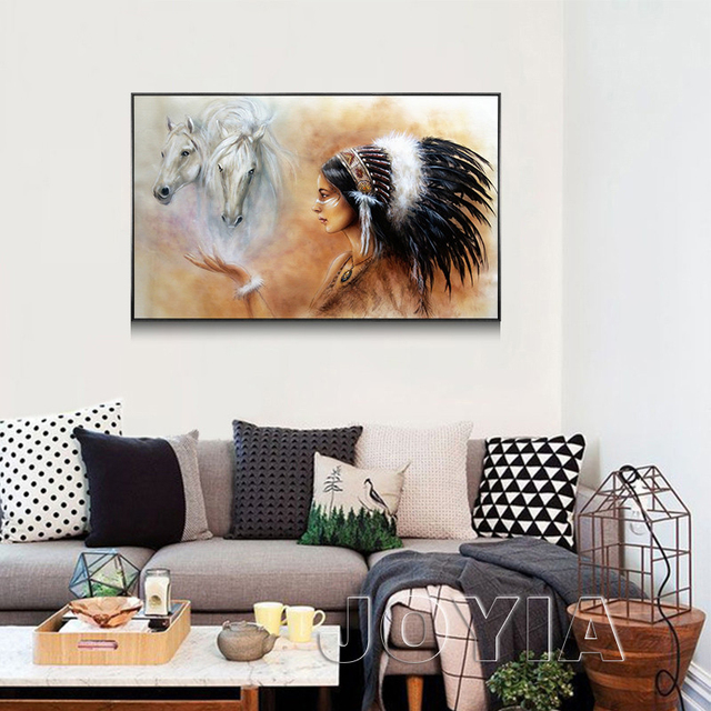 African Tribes Woman Canvas Art Home Decor Indian Style Horses Wall Painting Picture For Living Room Office Study Poster Prints