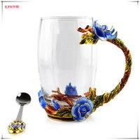 1set Creative Classical Enamel Glass Tea Cup With Rose Design Luxury Crystal Glass Milk Coffee Mug
