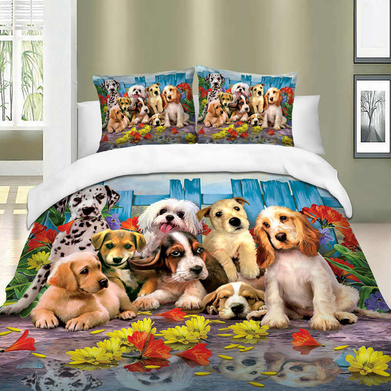 Dogs pattern print Queen King Super King Size Animal Duvet Cover set Quilt Cover Bed Cover Bedclothes with Pillow Cases New 3pcs