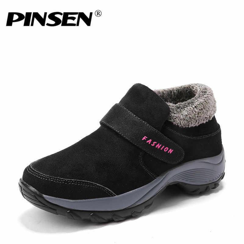 PINSEN 2020 kış kadın kar botları moda kadınlar sıcak itme platformu yarım çizmeler kadın yüksek kama su geçirmez botlar ayakkabı kadın