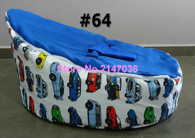 Race Car Baby Bean Bag Chair, Blue Chevron Kids Harness Beanbag Sofa Seat    Cotton