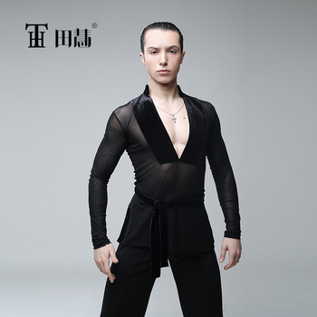 sexy men's Latin dance exercise performance clothing long sleeve net dance top