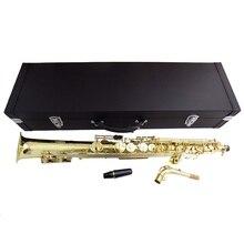 Eb прямой альт саксофон с деревянный ящик Желтая латунь саксофон музыкальные инструменты профессиональный