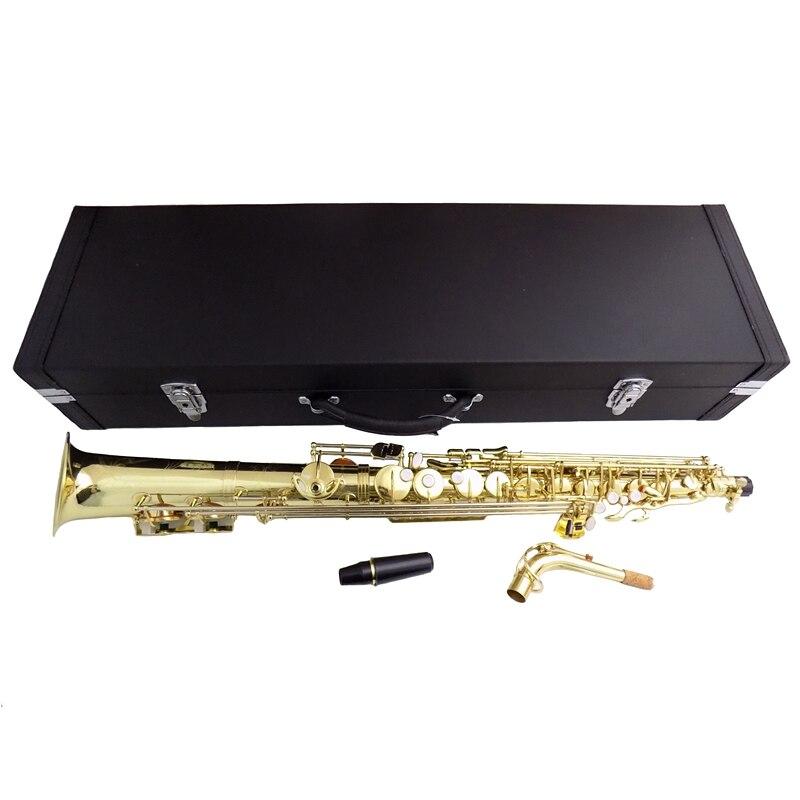Eb saxofone Alto Sax com caso de madeira Em Linha Reta de latão Amarelo instrumentos Musicais profissionais