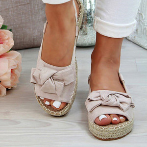Image 5 - גדול גודל נשים סנדלי סנדלי בד קיץ שטוח נשים נעלי בית עם פלטפורמת אופנה נעלי נשים עם אבזם אבזם ציוץ L10
