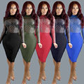 5 kinds! Fashion sexy club dress 2016 new women autumn long sleeve o-neck diamonds mesh Digital print slim hip party dresses