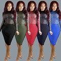 5 tipos! moda sexy vestido del club 2016 de las nuevas mujeres de otoño de manga larga del o-cuello de diamantes de malla de impresión Digital delgado hip vestidos de fiesta