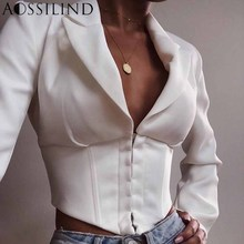 Sexy deep v neck vintage white female Blazer spring summer long sleeve elegant short jacket Women party club jacket