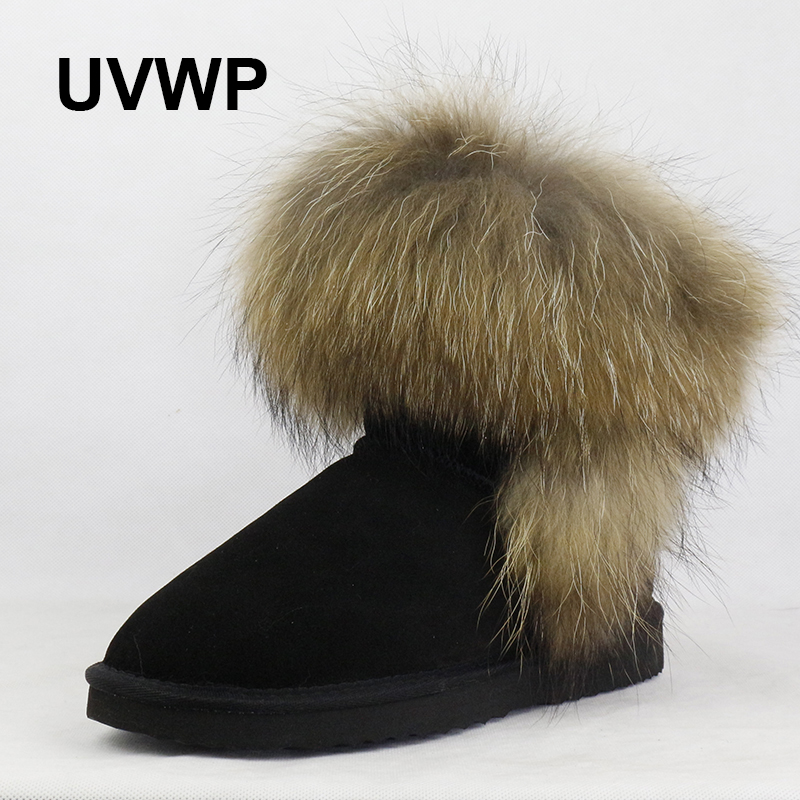UVWP High Quality Women Natural Real Fox Fur Snow Boots Genuine Leather Fashion Women Boots Warm