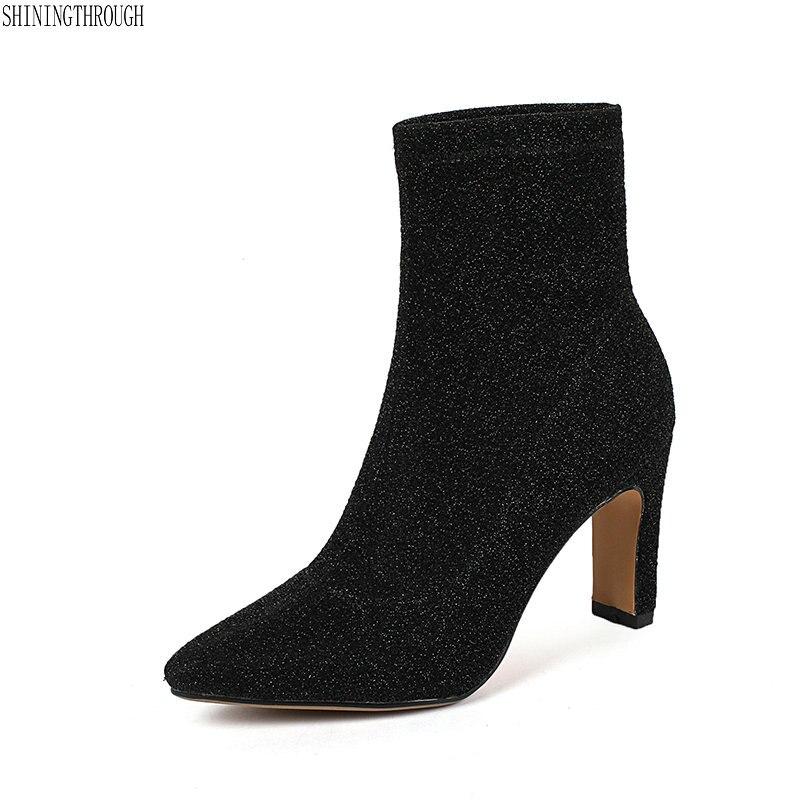 Dames Orteil Bottes À Minces Robe Chaussures Poined Cheville Talons Noir argent Paillettes Hauts Nouveau Femme Sexy Femmes Tissu odeCxrB