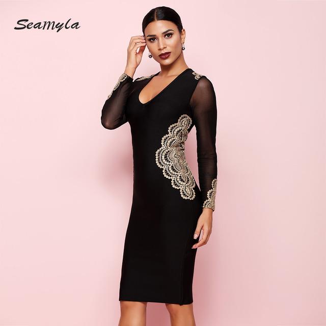 Summer Bandage Dress Women New Fashion Mesh Long Sleeve Appliques Bodycon Dress Knee Length Celebrity Party Dresses