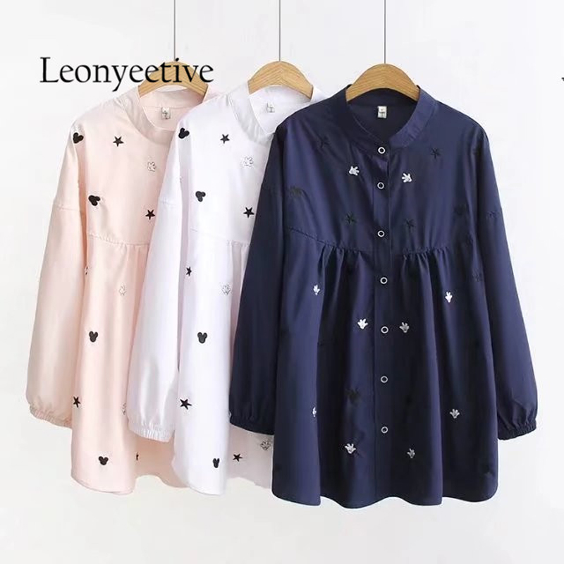 oversize shirt  2017 autumn big size Women long Shirt   Blouses Style Clothing  Full Sleeve Ladies Shirts plus size 4xl