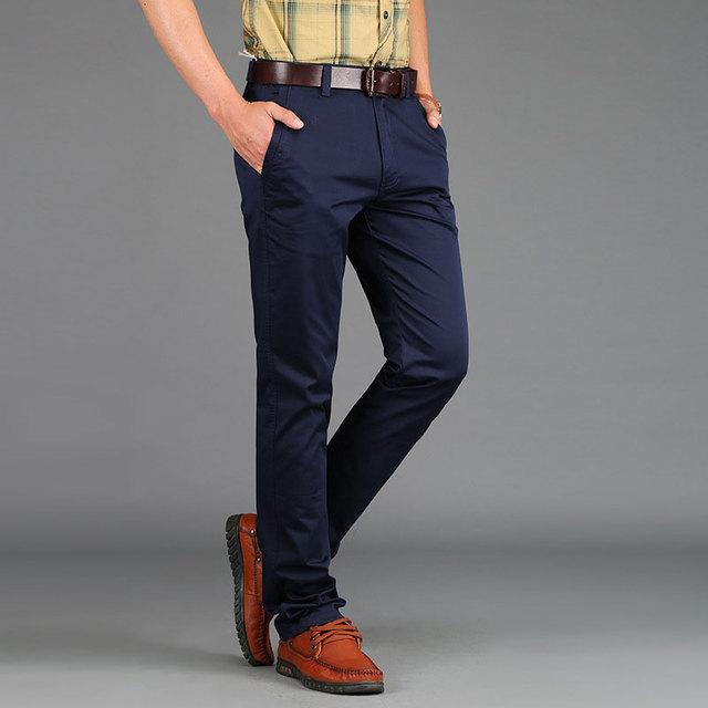 Exército Verde 30 ~ 42 Homens Verão 2017 Primavera Plus Size Calças de Algodão Longo Azul Casual Calças Homem Reta Formais moda Pantalones