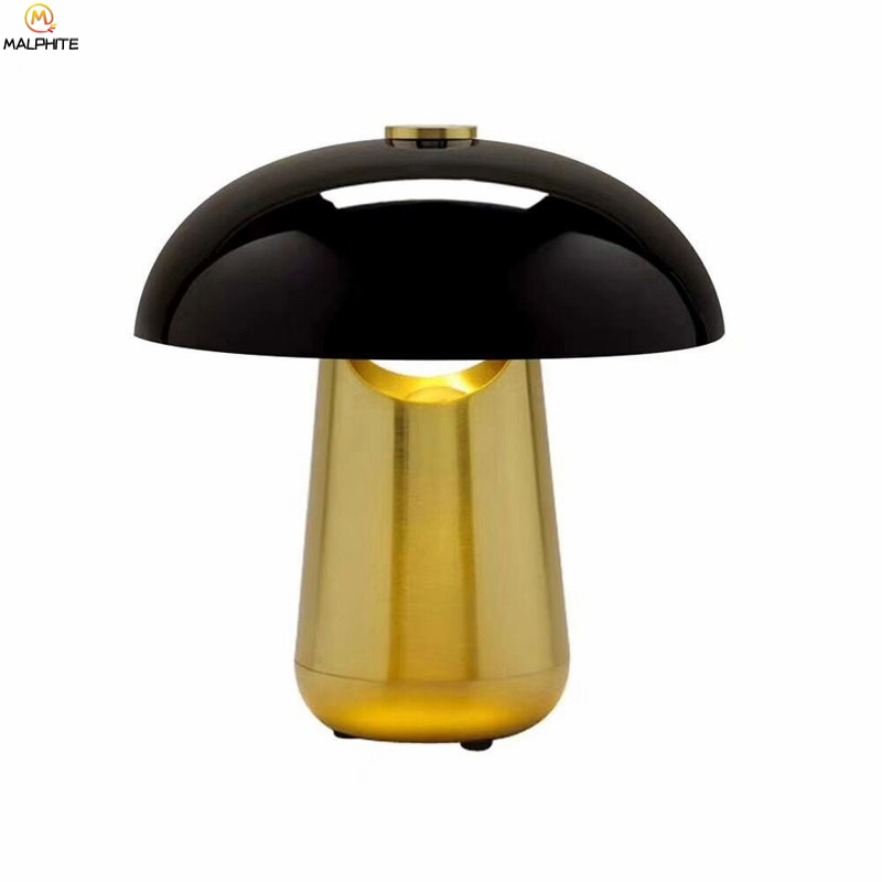 Nordic Golden Mushroom Table Lamp Living Room Lamps Table Bedroom Bedside Table Light Home Decor Luminaire Lighting Luminaria