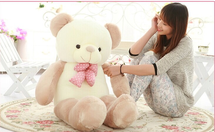 big lovely new plush Teddy bear toy stuffed light brown teddy bear with bow birthday gift about 140cm new creative plush bear toy big teddy bear doll birthday gift about 60cm